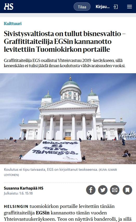 Yhteistyöprojekti EGSin kanssa - Helsingin Sanomat